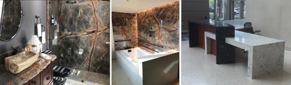 Above, Left: This residential bathroom highlights the true beauty of natural stone with a full slab Rain Forest brown shower, unique chiseled edge on the countertop and a one-of-a-kind stone vessel sink.  Above, Middle: Wilderness Lodge pool baths feature a combination of  Rain Forest Brown with a Fairbourne Cambria tub surround.   Above, Right: Reception desk at the Orlando VA Hospital combines Black Fossil Natural Stone and Wilsonart Quartz.
