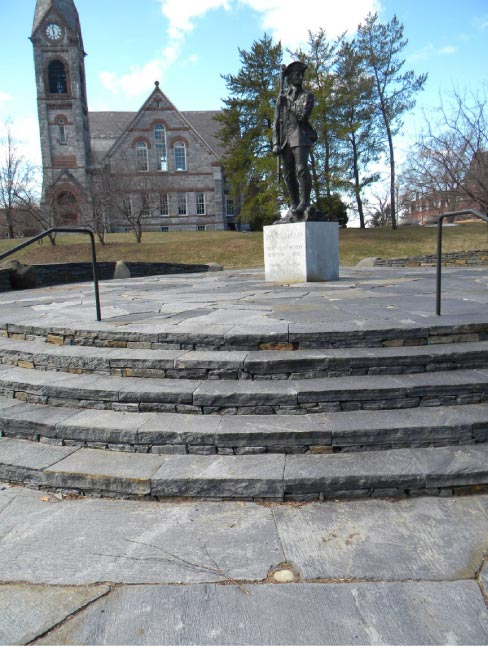 Schist has been used for building in new England since colonial times, so it is quite fitting to be used in this small Revolutionary War memorial plaza.