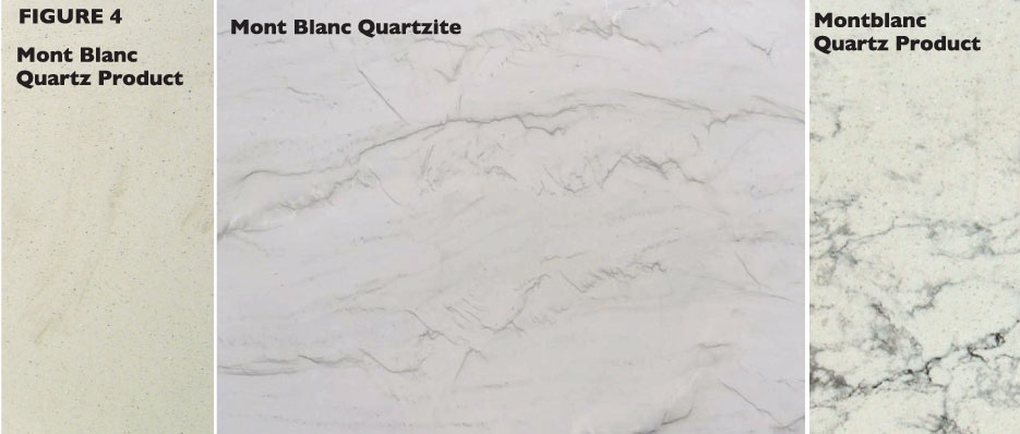 Mont Blanc quartzite (center) a natural stone, is often imitated by manufactured quartz producers. Notice the inherent difference of one manufacturer's Mont Blanc (left) and a second company's Montblanc (right) as manufactured quartz product offerings compared to its natural counterpart. Photos supplied by Slabworks of Montana and Triton Stone.