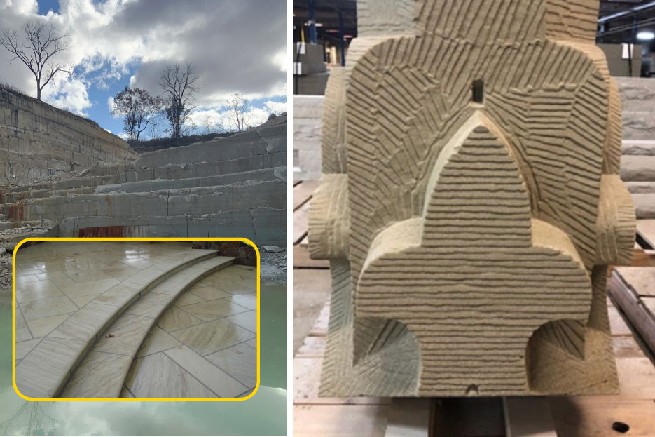 Above, left: Birmingham Buff quarry ledges, and polished Buff steps and terrace paving. The Cleveland Quarries legacy includes fine sandstone building products and the fabricators and carvers to turn it into functional art.  Above, right: Rough removal of material reveals the basic form of this capitol being carved for a restoration project.