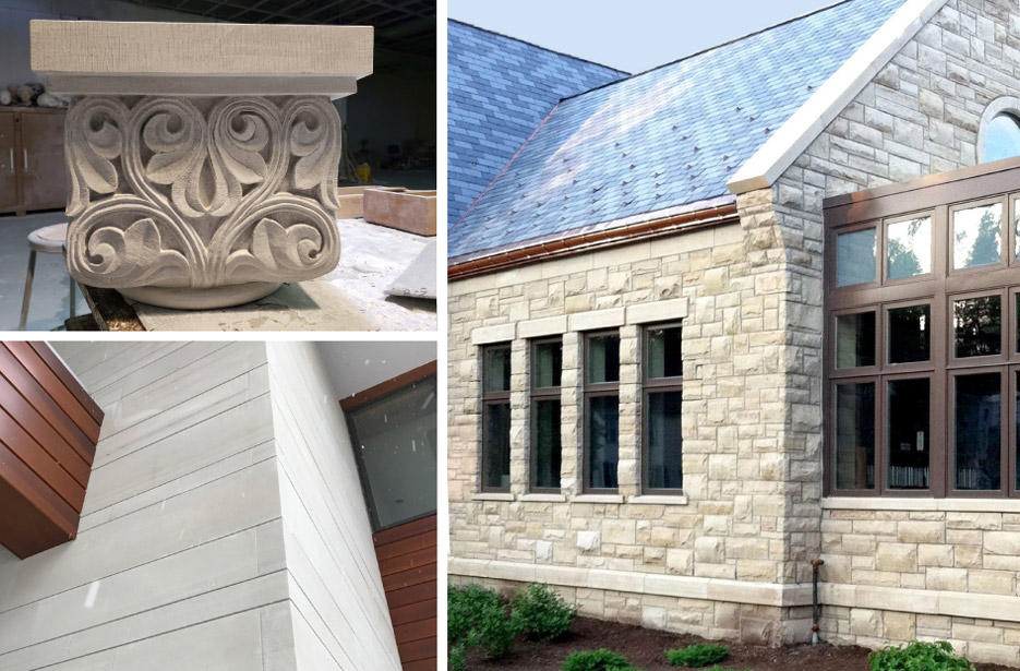 Above, bottom left: Amherst Gray sawn panels on a building façade. Above, top left: Birmingham Buff– capitol carving in progress. Above, right: Birmingham Buff ashlar and cut stone construction