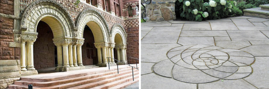 Above, left: Justin Hall, Harvard, Above, right: Amherst Grey Paving, Photo courtesy Aristotle Design Group Boston, MA