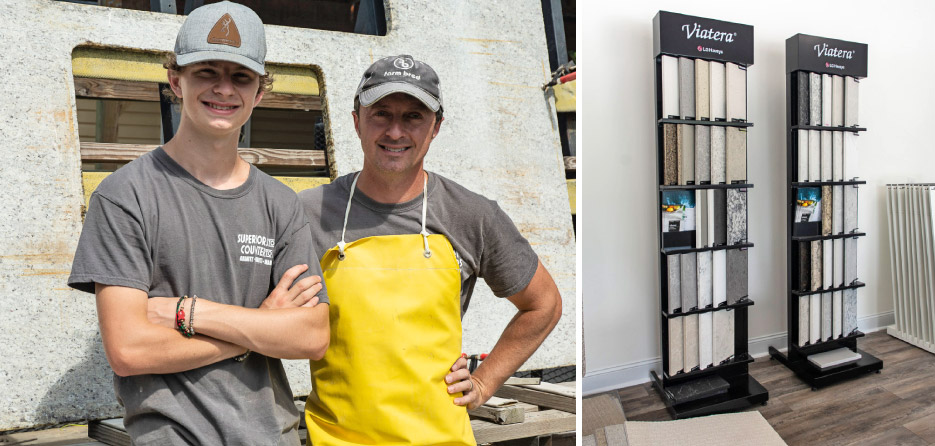"Above, Left, from left: Max and Josh Stafford. ""We basically have three generations working here,"" said Josh, ""but only when school is out! I consider myself lucky to be surrounded by family.""  Above, right: Part of the LG Hausys quartz material display provided by the new LG factory in Calhoun, Georgia.  This display is one of several in the Hollis Holdings model condo office, set up to give clients an idea of the available materials to build their dream kitchen. Stafford also sources materiel from MSI and Atlantic Stone. ""I like to help people pick the stone that fits their lifestyle. I want to make sure they make the right choice and will be happy with it for many years to come. I try to steer them to the right choice, and educate them on the stone they need for their lifestyle."""