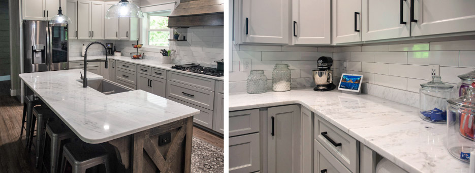 "Residential kitchen installation in Carrara marble, aka ""Shadow Storm."" The radius-edge island features a composite granite farmhouse sink. The long counters were  produced using minimal seams."