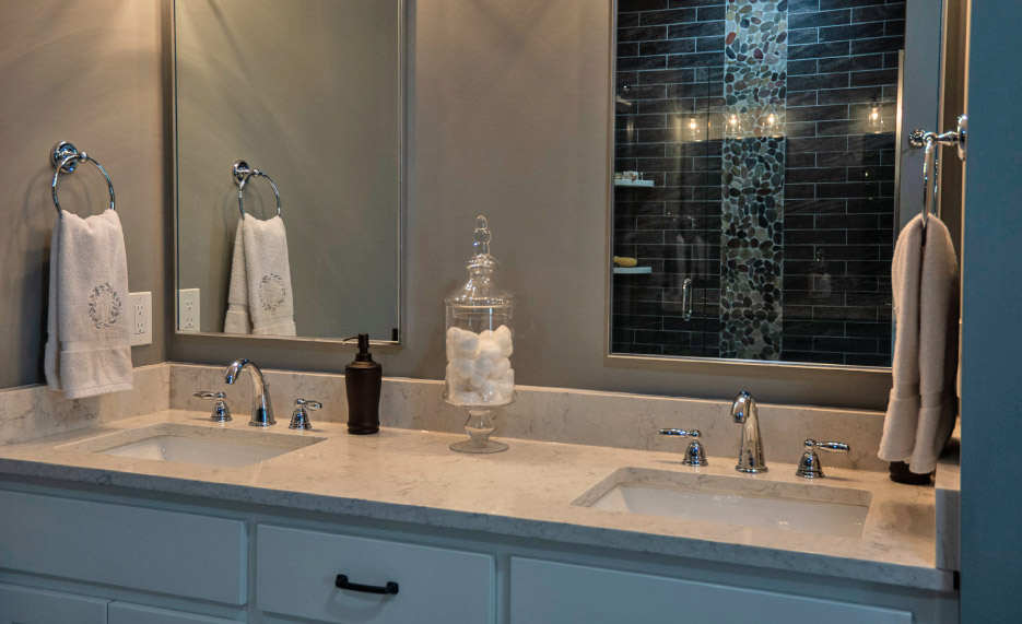 double sink vanity in Minuet Quartz, an LG Hausys Viatera color