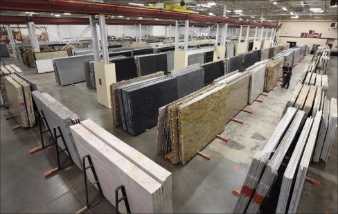 Stone Mart's new warehouse and showroom in  Cincinnati, OH features large selection of  imported granite, marble,  quartzite, soapstone, quartz and porcelain products for area fabricators and their clients.