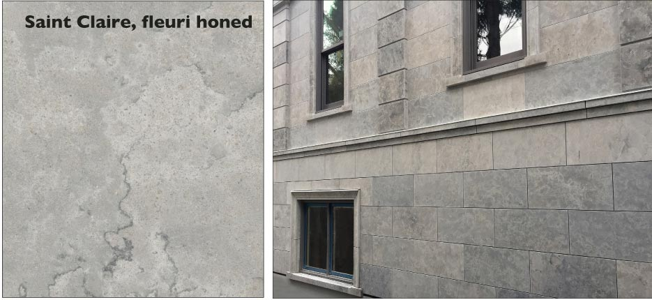 Residential project in British Columbia clad in honed Saint Clair Fleuri limestone.