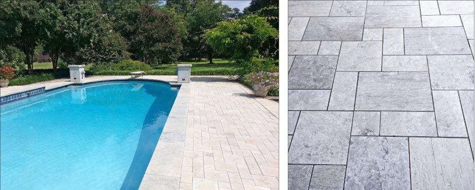 Left: Pool coping and pavers in fleuri cut grace this residential retreat. Right: Mixing fleuri and linear cuts in a pattern for irregular-sized pavers draws attention to the swirling, dynamic surfaces.