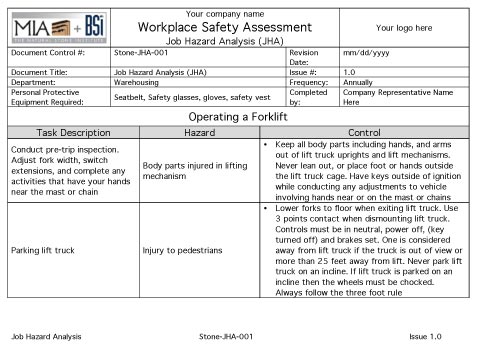 These Templates And Other Stone Safety Resources Are Made Available Free Of  Charge Courtesy Of The  Job Safety Analysis Form Template