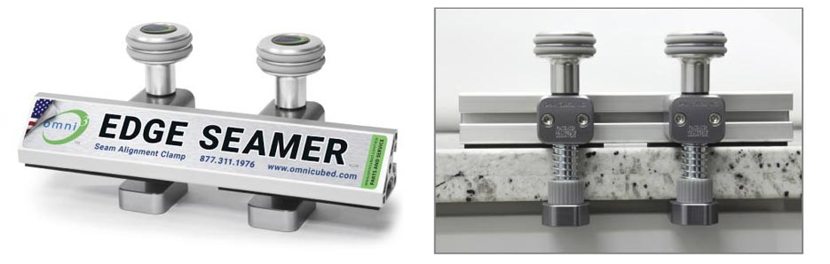 The new Edge Seamer from Omni Cubed allows fabricators to make fine leveling adjustments on each side of a seam.
