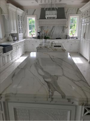 This full marble kitchen will need a scheduled maintenance program in place to ensure the lasting beauty of this easily-damaged surface.  The owners should be encouraged to follow a regular cleaning schedule, and a program of annual or bi-annual sealing will be a must.