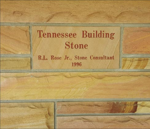 This engraving outside the Tennessee Building Stone headquarters serves as a proclamation: the legacy of the Rose family and Tennessee Building Stone will continue into the future.