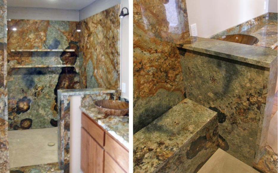 This custom bath project features full slab shower walls with matching bench seat and matching vanity top of  3cm Atlas granite.