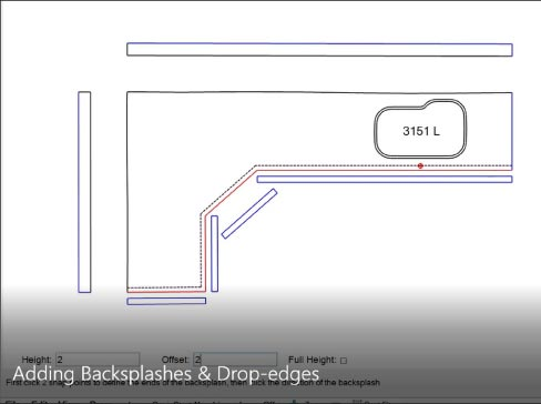 Adding backsplashes and drop edges screen