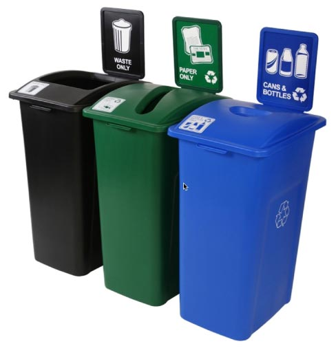 If you want to start an in-house recycle program, clearly marked bins will help your company define and manage a program. Some waste management companies will even provide recycle bins.