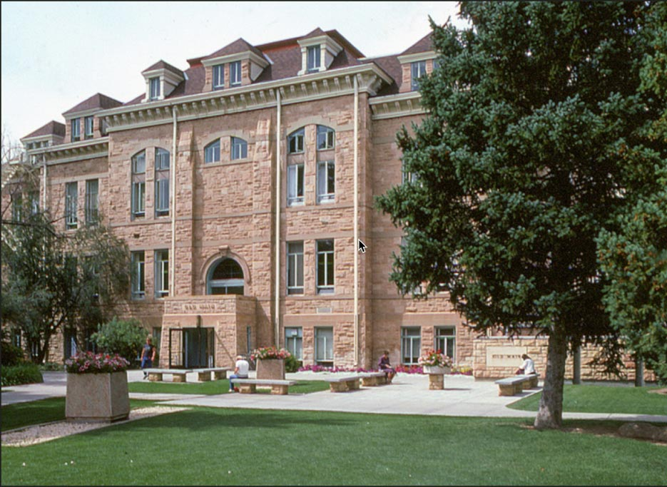 "Wyoming University, ""Old Main"" hall, built with buff sandstone,  circa 1886 from stone quarried nearby. Most of the older campus is this beautiful, durable buff sandstone."