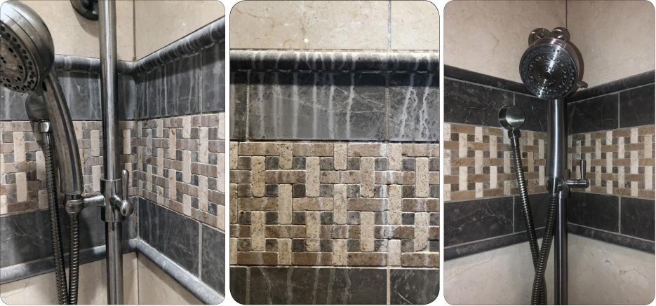 The clients were very happy with their shower, restored after honing, polishing and sealing with a color enhancer.