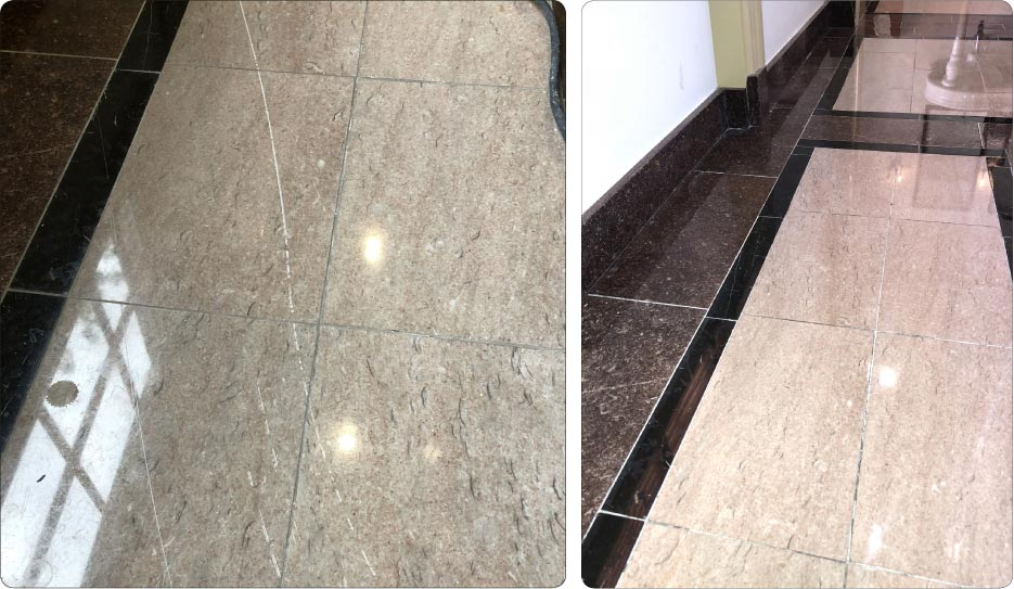Occasionally, you will encounter some scratches so deep that honing can create lippage, as in this dark Tennessee marble picture frame flooring outlining a lighter Tennessee Pink marble.  Careful polishing will help to minimize any unevenness.  After a difficult restoration that could have been prevented by a little extra care, please try to educate your clients to help minimize future avoidable incidents. Ask to develop a maintenance plan for them, and you just may turn an averted disaster into a grateful, steady client.