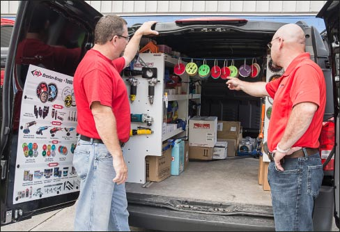 The Viper Van is stocked with name-brand fabrication supplies.