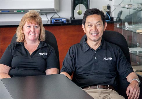Alpha Professional Tools® has just celebrated its 32nd Anniversary in business, and is still a leading innovator in stone and tile tool manufacturing. From left: Mindy Wessel, General Manger, and Nao Takahashi, President of Alpha®.