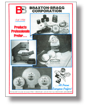1996 Braxton-Bragg Catalog Cover with a Flex right-angle grinder featured prominently. By 1999, Braxton-Bragg increased its FLEX line of tools from