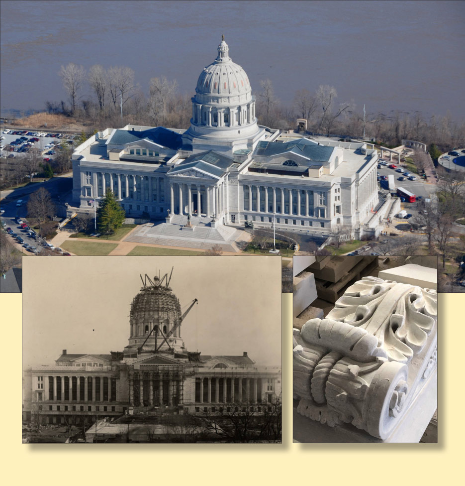 Above: Construction on the Missouri State Capitol dome, c. 1918, and a replacement capital from the front portico. Below: inspecting and selecting slabs at the Phenix Marble quarry.