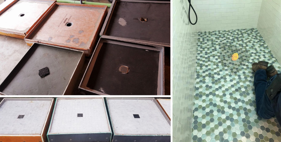"Above, top left: Ten Carrara marble shower floor modules were tested to determine cause – and prevention – of moisture discoloration. Above, bottom left: Only the modules installed with the ""epoxy"" method returned to the original light color after only two to three hours. Above, right: Trapped moisture under the translucent glass tile installed over a bonded membrane pan."