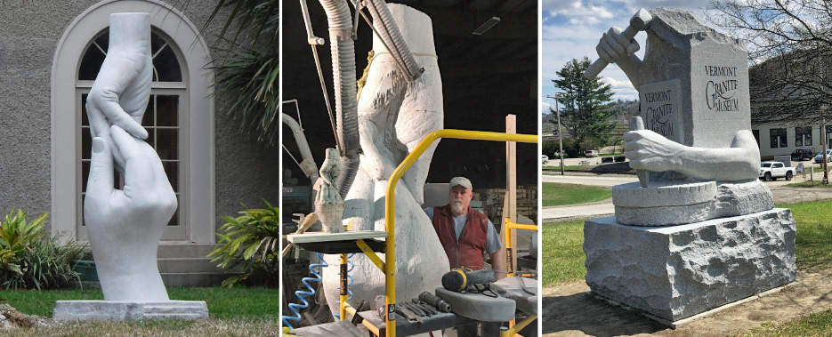 "Above, left and middle: Paradox, installed in Galveston, Texas. ""As far as thinking about the form and how I want to go about getting it, I start with a scale model, and by the time I get to working the stone, that's already been worked out."""