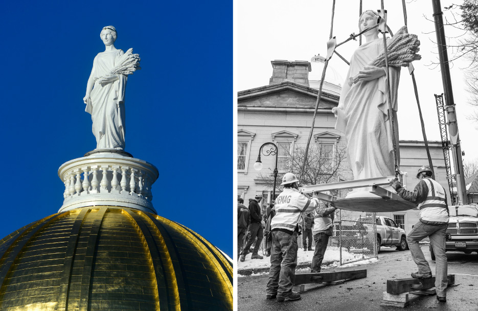 Completed in 2018 for the Vermont State House Capital dome, Agriculture aka Ceres, Goddess of Agriculture is a 14-1/2 foot mahogany statue based on the model Agriculture created by Jerry Williams of Barre Sculpture Studio. Wood was specified because of weight and structural concerns. Below: At work on the statue.