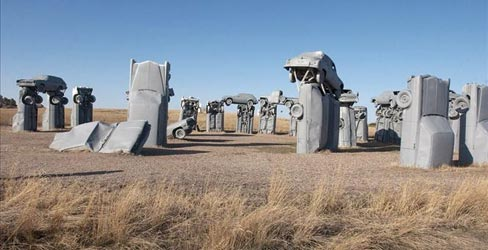 This file photo from March 24, 2004, shows Carhenge, western Nebraska's automotive replica of England's famed Stonehenge, erected near Alliance, Nebraska. The Alliance City Manager and the Alliance Visitors Bureau are considering taking over the site after the Friends of Carhenge offered to give the attraction and 10 surrounding acres to the city.  Photo: Nati Harnik