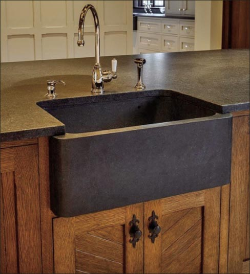 Superb Above: Warm, Traditional Wood Cabinetry And Oiled Bronze Fixtures And  Hardware Goes Perfect With A Carved Granite Sink. This Stonework Is By  Stone Age ...