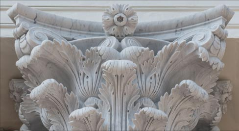 Rugo Stone provided award-winning carving work on the University of Virgina Rotunda, reproducing and replacing the 16 Carrara marble Corinthian order capitals. Photo used courtesy Rugo Stone.
