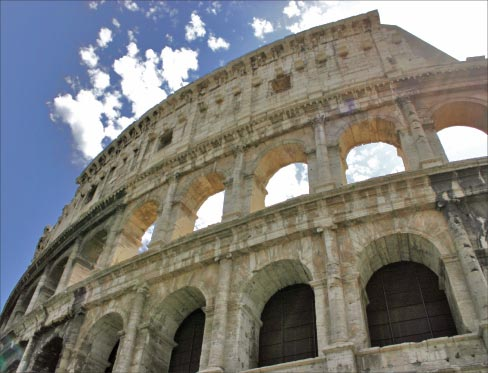 The Colosseum is made from Tivoli travertine. Photo by Dan Kamminga, reused via Creative Commons license.