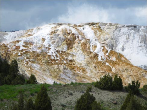 Mammoth Hot Springs, Yellowstone: this is literally a mountain of travertine.