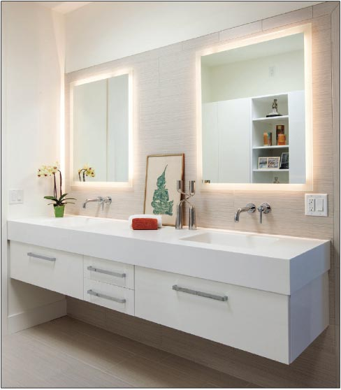 This floating quartz vanity features built-in double sinks with a contemporary flair.