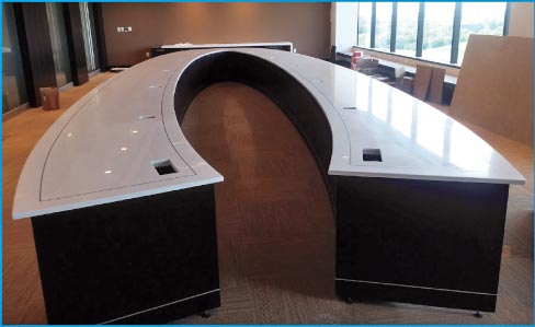Monumental Zodiaq quartz corporate conference table.