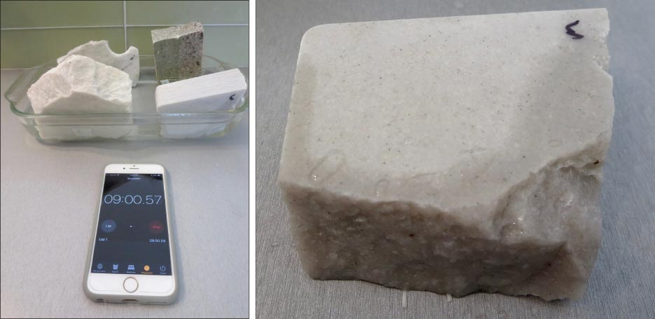 "Above, left: A water absorption test to determine, ""quartzite or sandstone?"" has been running for nine hours.  Above, right: A sample of White Macaubus shows the stone is porous, and will likely need to be sealed, compared to Wild Sea."