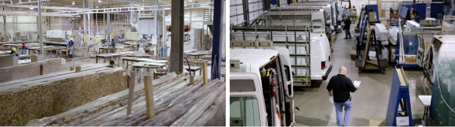 Above, left: Majestic Kitchen & Bath Creations' fabrication plant in Youngsville, North Carolina.  Above, right: Majestic's glass installation staging area for shower products, in Youngsville.