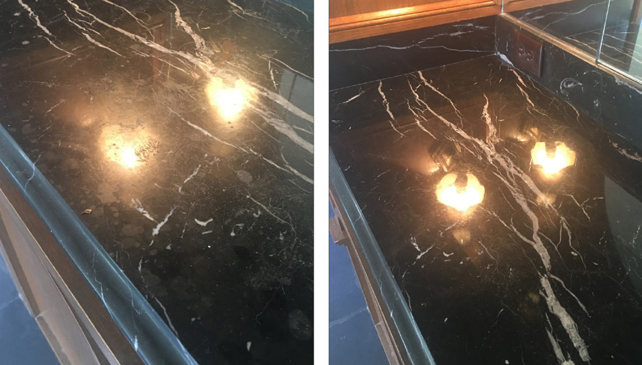Above, left and right: before and after restoration shows how improper use of simple household cleaning products and spillage can etch and damage a marble counter. Fortunately, this antique Black marble was honed and repolished back to its former glory – but not without a lot of time and effort.