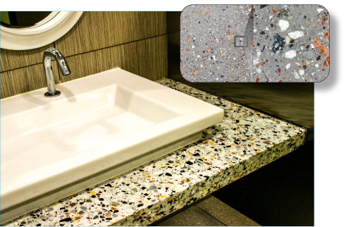 Eco-Terr® Urban Fossil collection is available in slabs and tiles, in a selection of colors and terrazo finishes, and made of 100 percent recycled and recyclable natural materials.