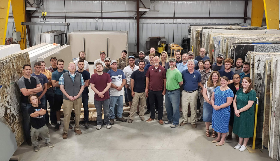 Sarto Countertops currently has about 40 employees, throughout all departments