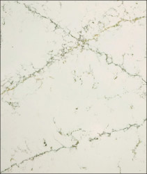 Etude is a warm, bright white design with grey and gold long, thin veins that criss cross the slab.