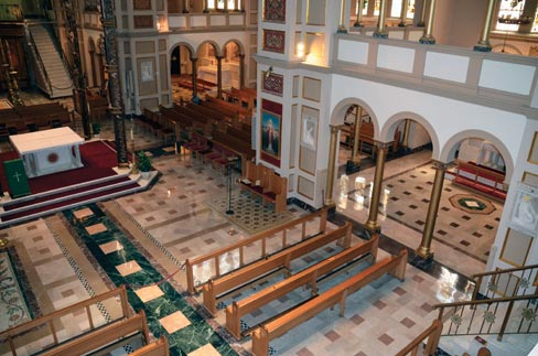 The Franciscan Monastery's main church floors were just recently restored in October to their natural shine