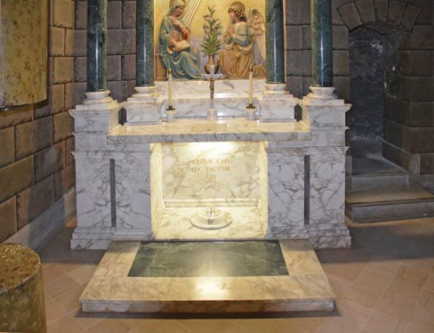 A closer view of the Nazareth Chapel white marble altar and step with a green marble inlay.