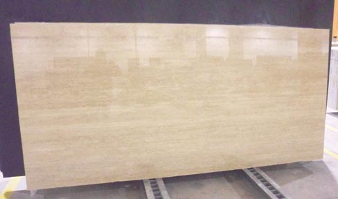 The popularity of 2cm vein-cut Travertine Classico filled and polished from Tivoli, Italy is on the rise again according to Mike Bastone of Walker-Zanger. Travertine was vogue in the late 90s, early 2000s, especially when combined with black marble or granite.