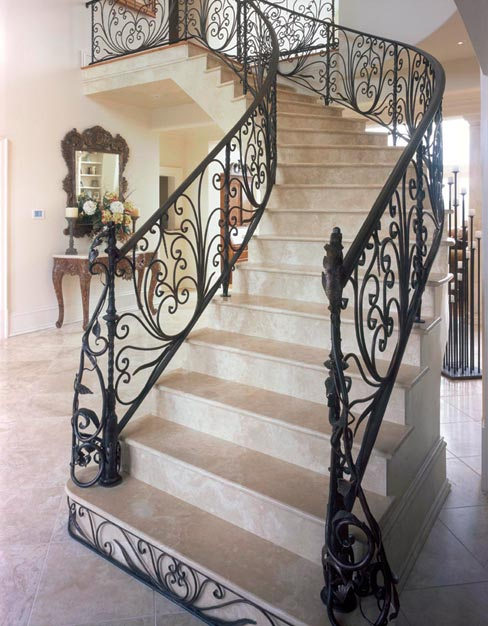 The Durango stair treads and risers on these dramatic, cantilevered stairs were all fabricated by hand to fit precise specifications.