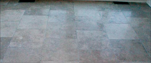 The same travertine floor now honed to 400g.
