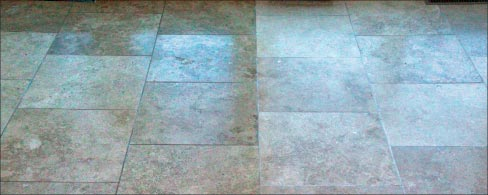 The newly honed travertine floor, with left half color enhanced.