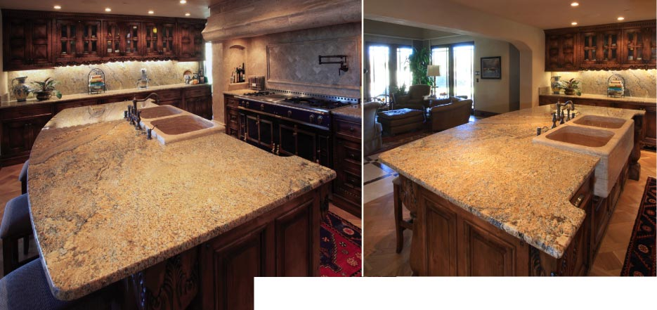 Custom residential kitchen features Gold Coast granite with a massive travertine farmhouse sink and limestone stove shroud.