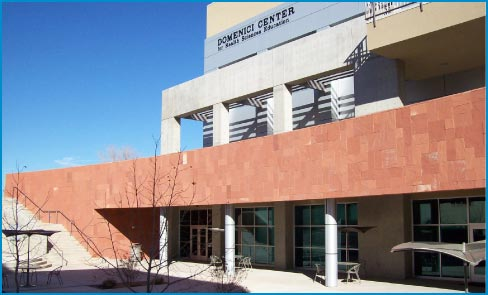 The University of New Mexico Domenici Center Health Sciences building has a mechanically anchored façade of Agra Red Sandstone, material supplied and installed by Rocky Mountain Stone.